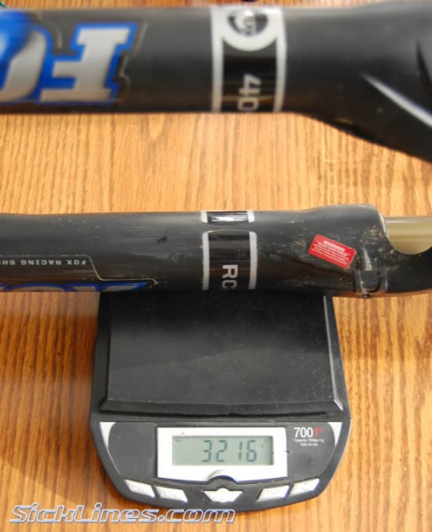 2009 FOX 40 RC2 Front Fork Full Steerer tube, top crown, and Axle